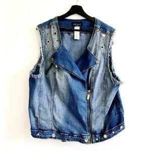 Baby Phat Plus size denim motorcycle vest, 3X